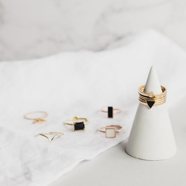 Rose Gold Geometric Square Ring - Black