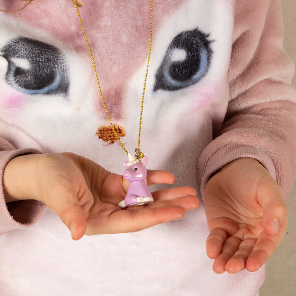 Blue Iwako Unicorn Necklace
