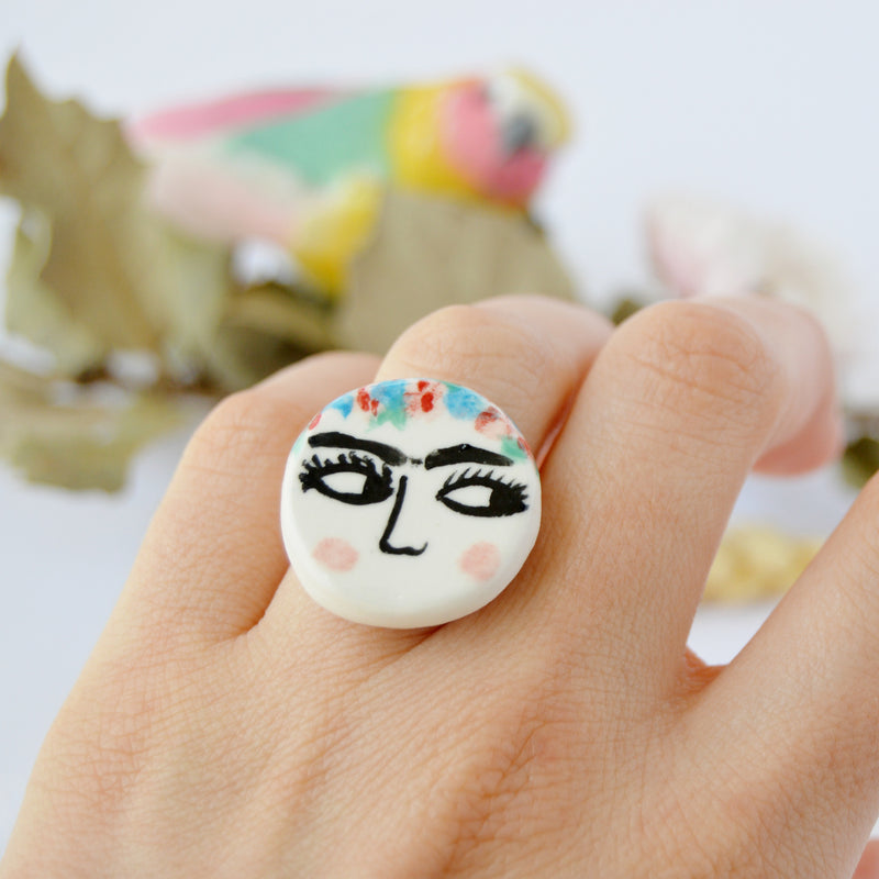 Ceramic Ring - Frida Kahlo - Ring - Fleur De Carotte - Jewellery - Arlette Gold