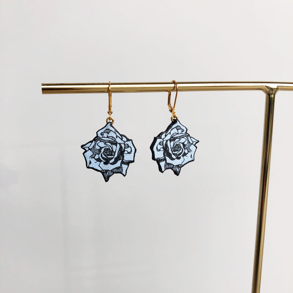 Powder Blue Small Roses Earrings