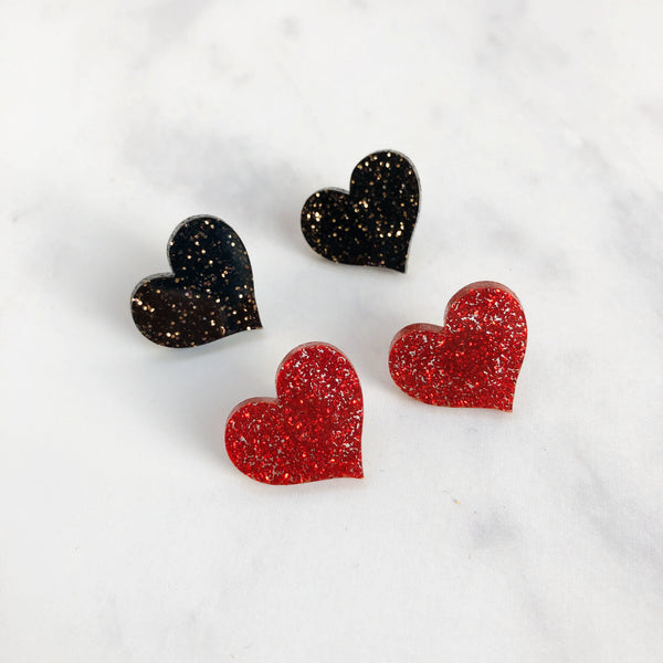 Black Glitter Heart Stud Earrings