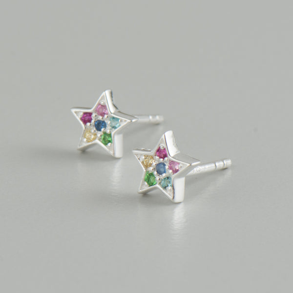 Silver Star Rainbow Studs - Earrings - Laviandbelle - Jewellery - Arlette Gold