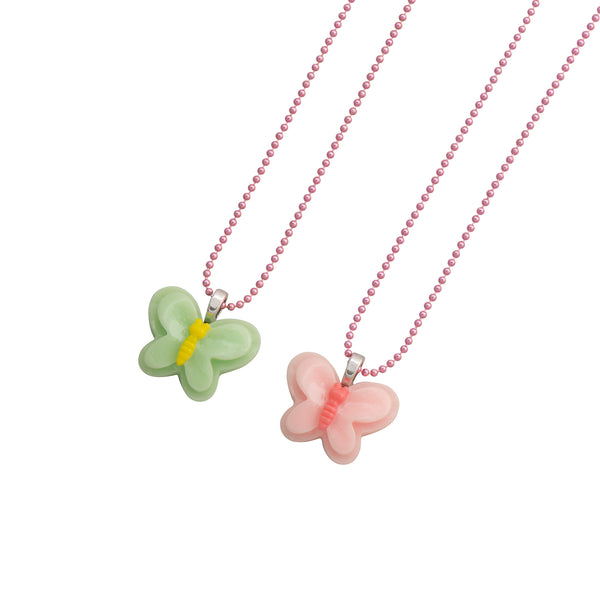 BFF Butterfly Necklace Green Pink - Kids - Pop Cutie - Jewellery - Arlette Gold