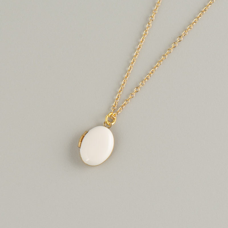 White Locket Necklace - Kids - A Weathered Penny - Jewellery - Arlette Gold