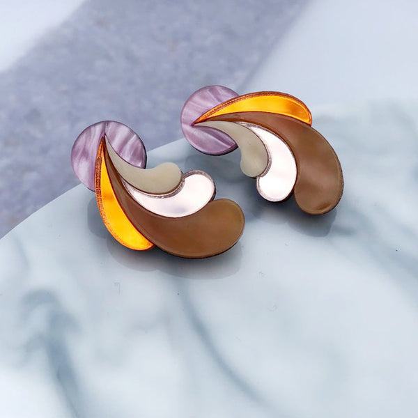 Psychedelic Wave Statement Studs - Pink Sky