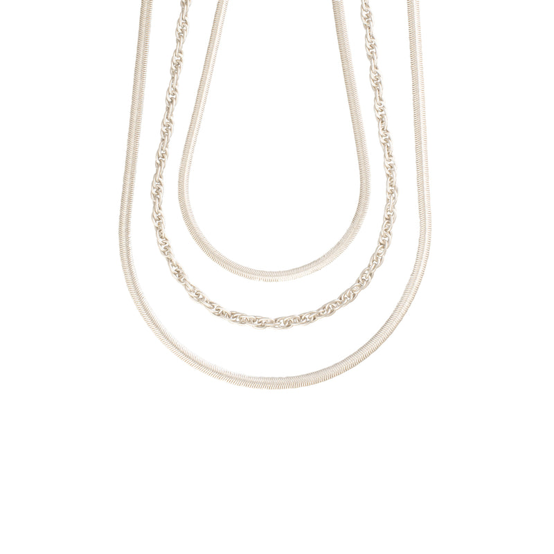 15 inch Flat Snake Necklace - Antique Silver - Necklace - Sarah Cavender - Jewellery - Arlette Gold
