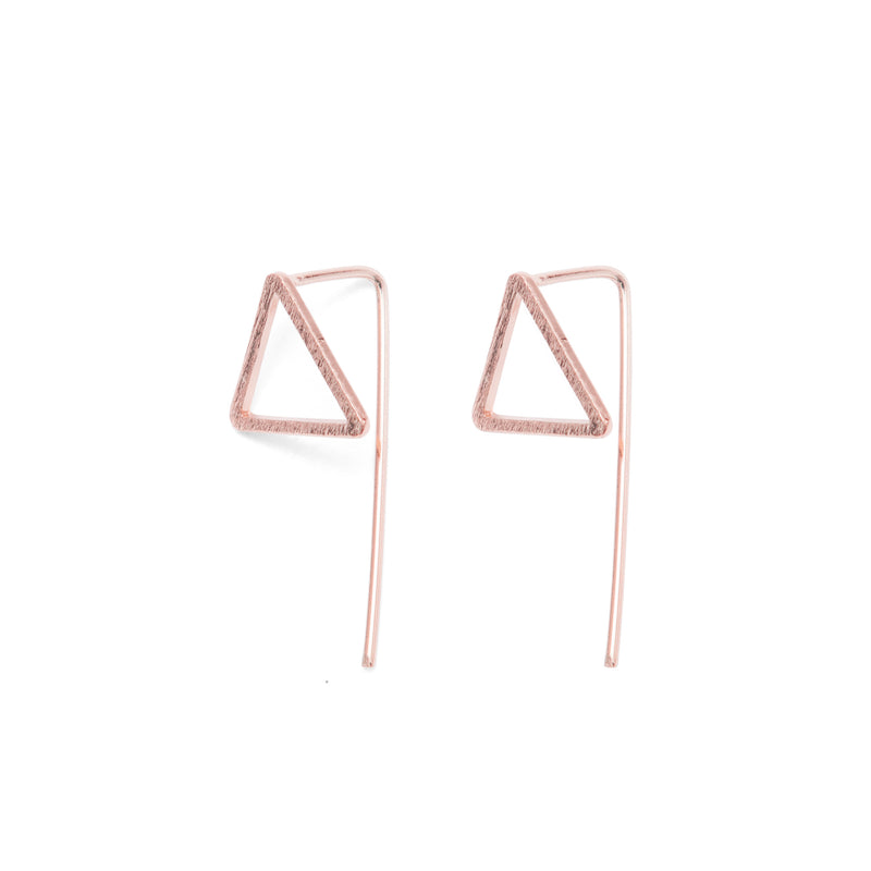Rose Gold Triangle Drop Back Earrings - Earrings - A Weathered Penny - Jewellery - Arlette Gold