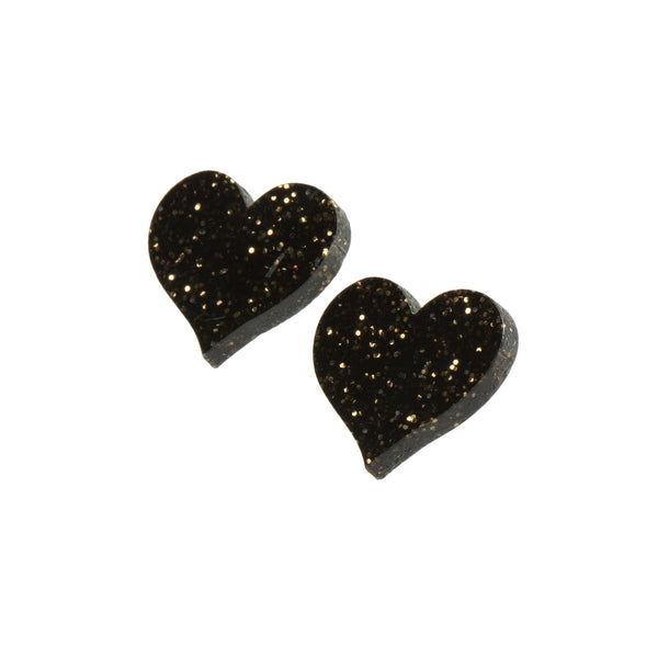 Black Glitter Heart Stud Earrings - Earrings - Sugar and Vice Design - Jewellery - Arlette Gold