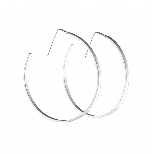 Brushed Silver Hoops