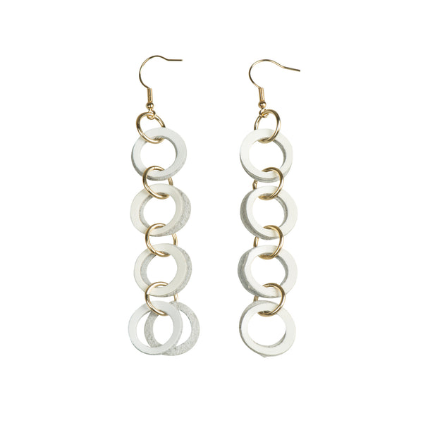 Dangle White Earrings - Earrings - Slinky Links - Jewellery - Arlette Gold