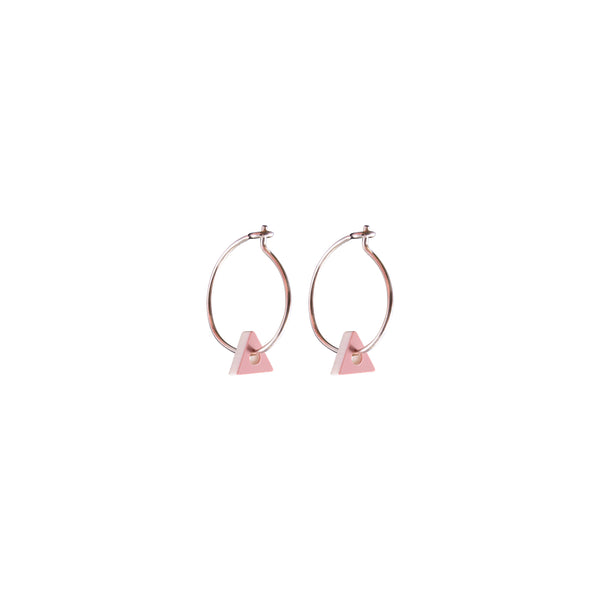 Triangle Nano Earrings Rose White