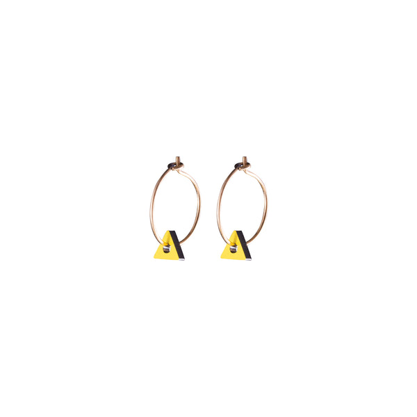 Triangle Nano Earrings Black Yellow