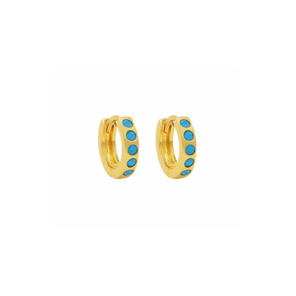 Turquoise Huggies - Earrings - Laviandbelle - Jewellery - Arlette Gold