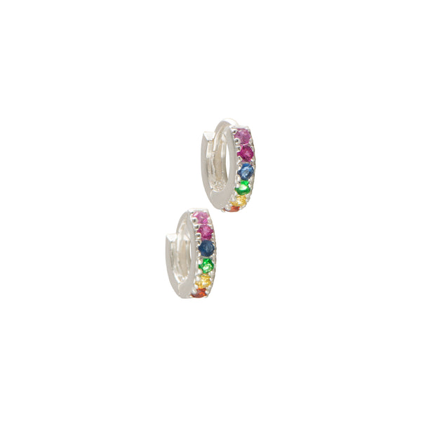 Silver Rainbow Huggie Hoops - Earrings - Laviandbelle - Jewellery - Arlette Gold