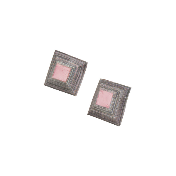 Pink Square Studs - Earrings - Quazi Design - Jewellery - Arlette Gold