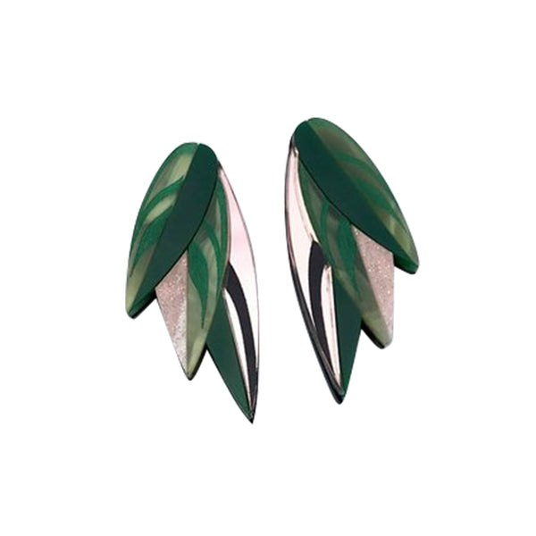Calethea Leaf Statement Stud Earrings - Green and Rose Gold - Earrings - Rosa Pietsch - Jewellery - Arlette Gold
