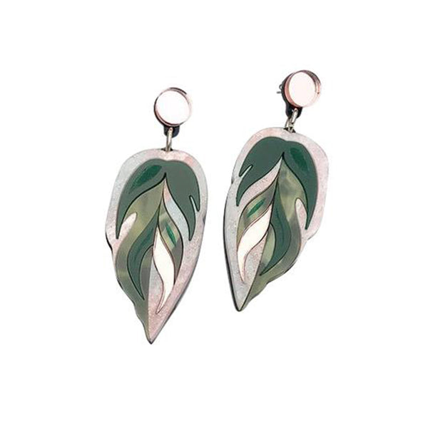 Calethea Leaf Medium Drop Earrings - Green and Rose Gold