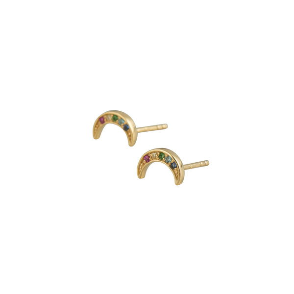 Gold Moon Rainbow Studs - Earrings - Laviandbelle - Jewellery - Arlette Gold
