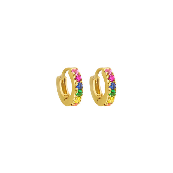 Gold Rainbow Huggie Hoops - Earrings - Laviandbelle - Jewellery - Arlette Gold