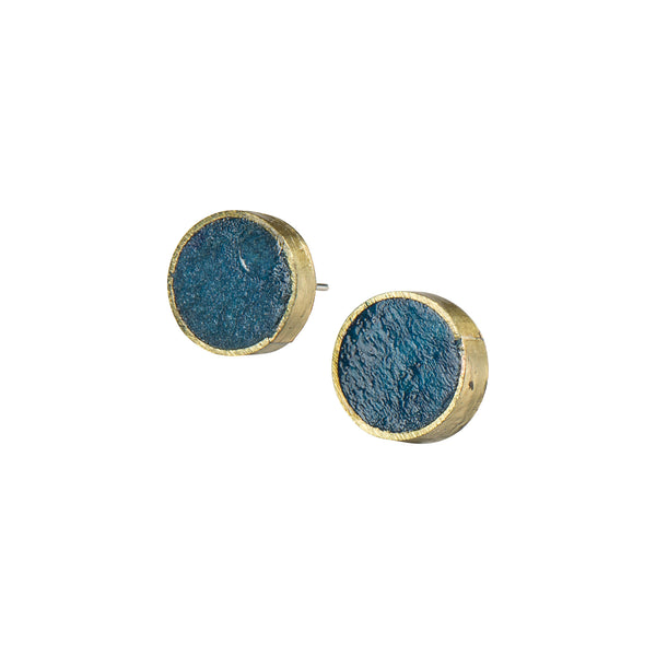 Blue Pulp Rock Circle Studs - Earrings - Quazi Design - Jewellery - Arlette Gold
