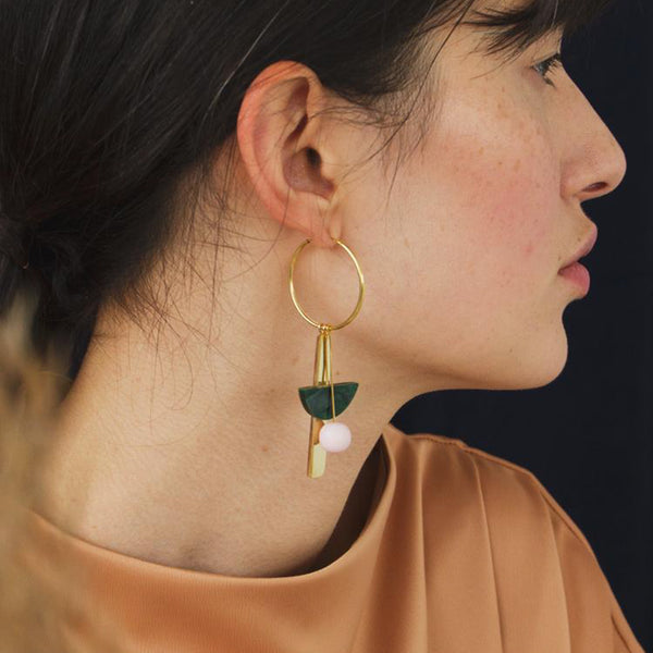Abstract Charm Hoops in Green