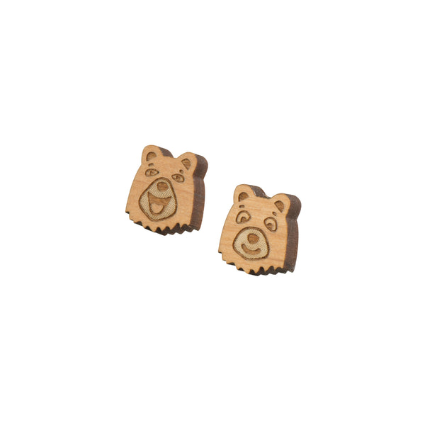 Wooden Bear Earrings - Kids - Brainbow - Jewellery - Arlette Gold