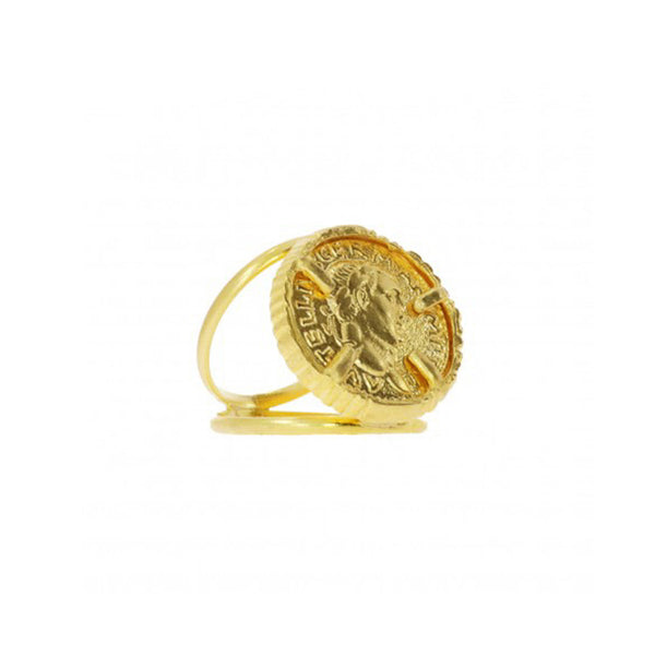 Gold Coin Double Band Cocktail Ring - Ring - Ottoman Hands - Jewellery - Arlette Gold