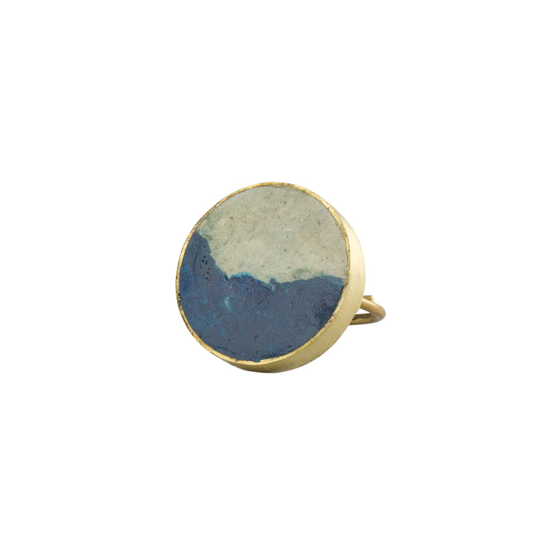 Two Tone Pulp Rock Ring Round - Blue - Ring - Quazi Design - Jewellery - Arlette Gold