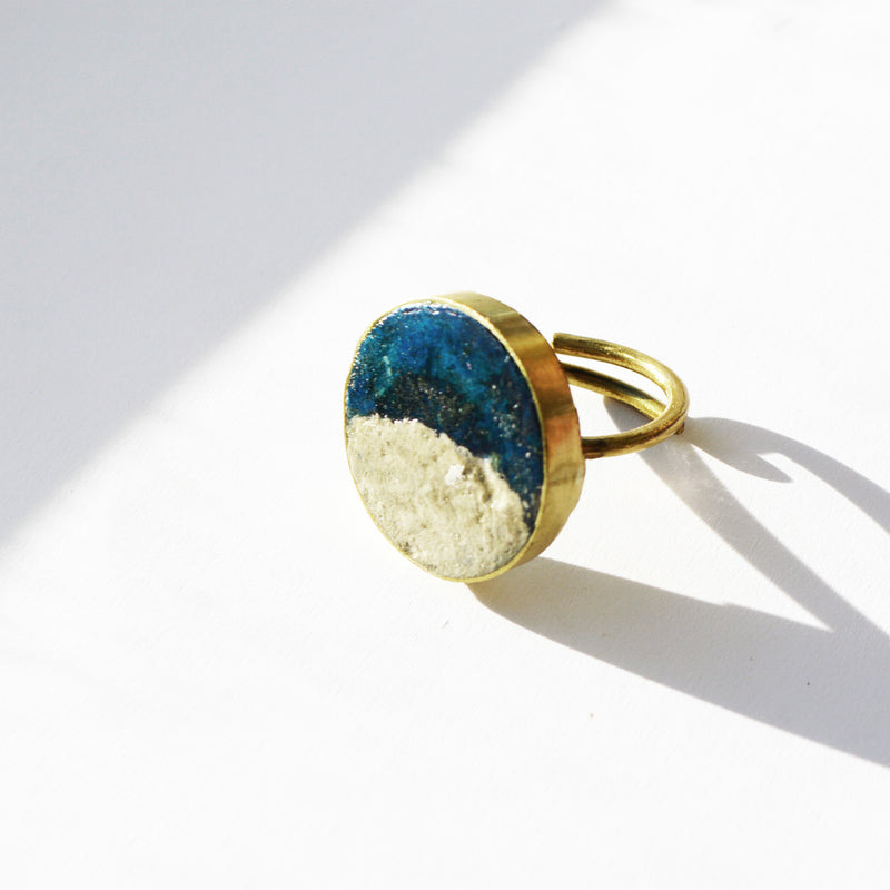 Two Tone Pulp Rock Ring Round - Blue