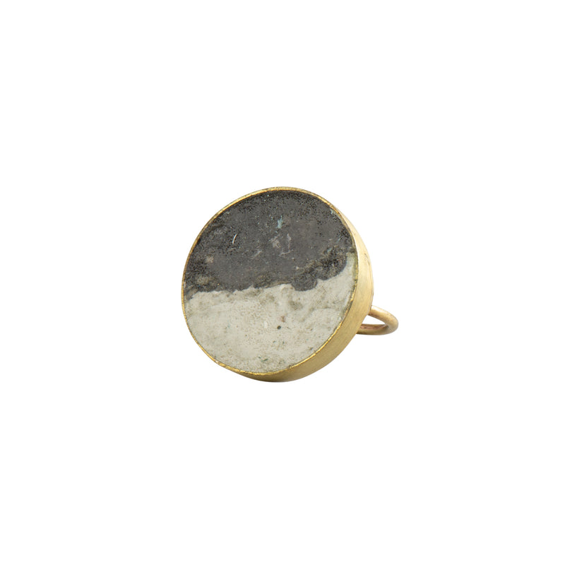 Two Tone Pulp Rock Ring Round - Black - Ring - Quazi Design - Jewellery - Arlette Gold