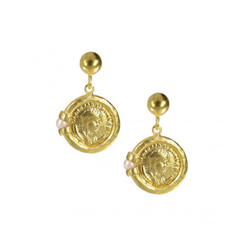 Venus Roman Coin and Pearl Drop Earrings