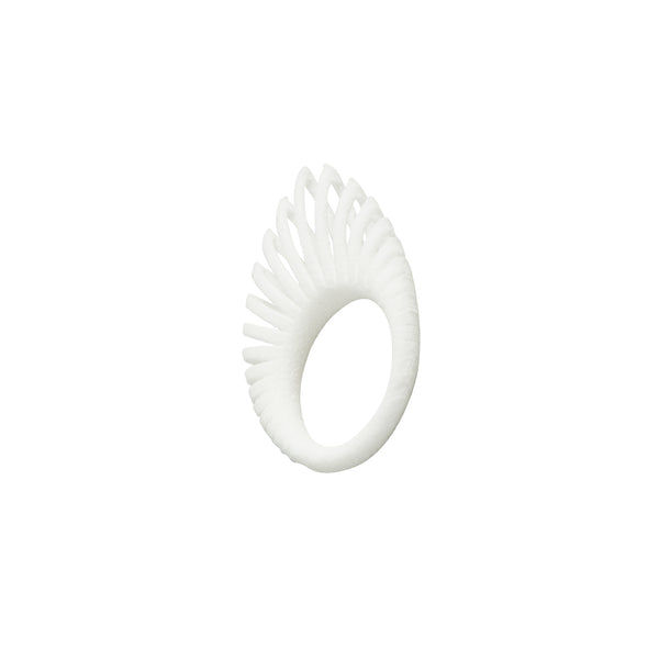 White Hollow Leaf Ring - Ring - Iris Van Hulst - Jewellery - Arlette Gold