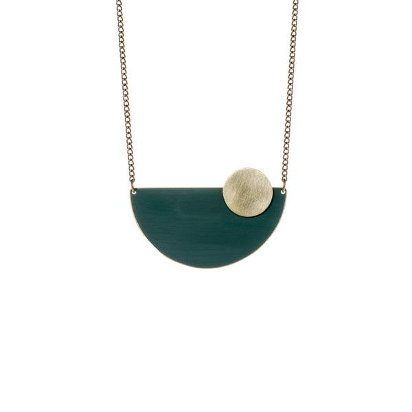 Coloured Brass Semi Circle Pendant - Forest Green