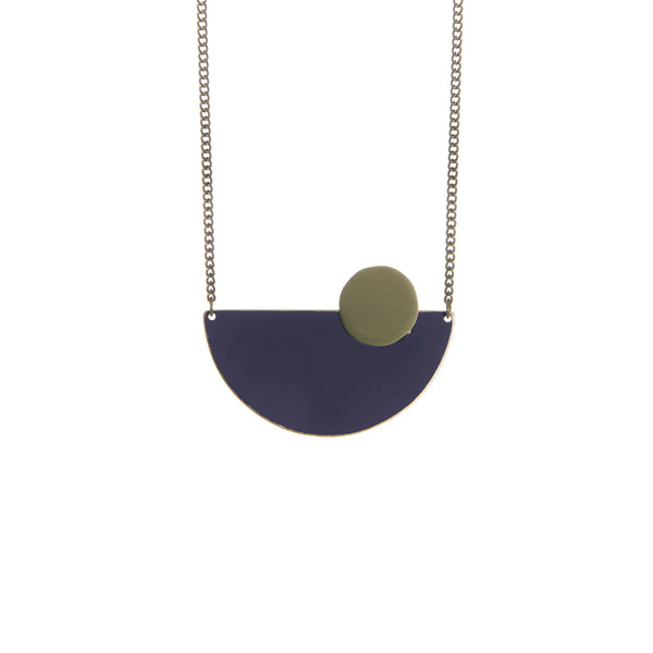 Coloured Brass Semi Circle Pendant - Navy