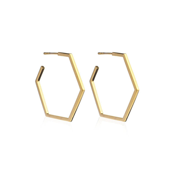 Gold Large Hexagon Hoop Earrings
