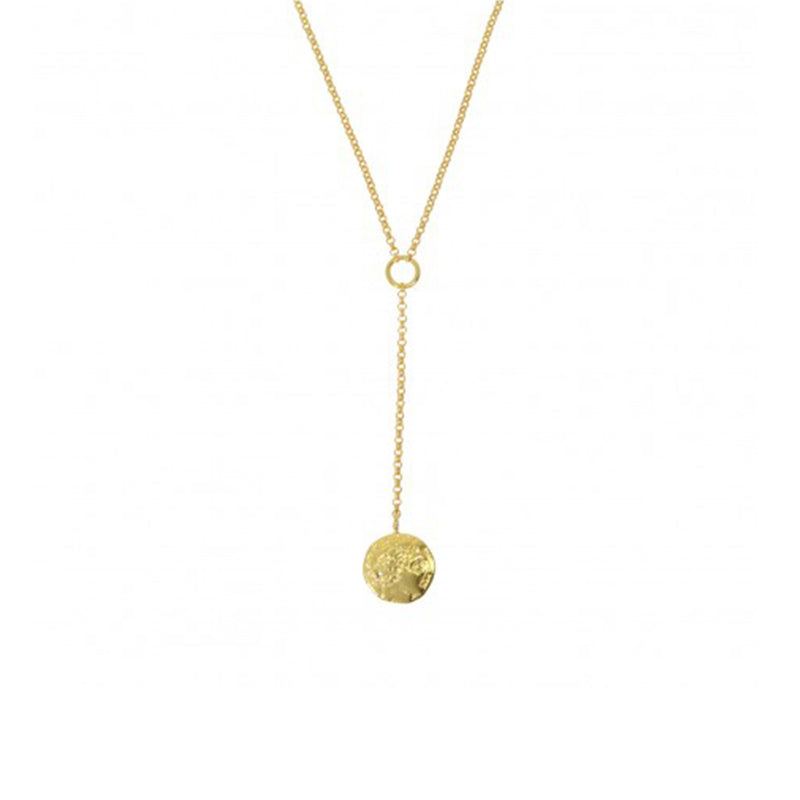 Cold Coin Lariat Necklace