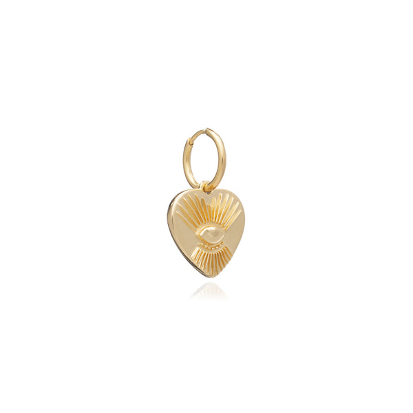 "Gold ""Protective"" Tattoo Heart Huggie Hoop"