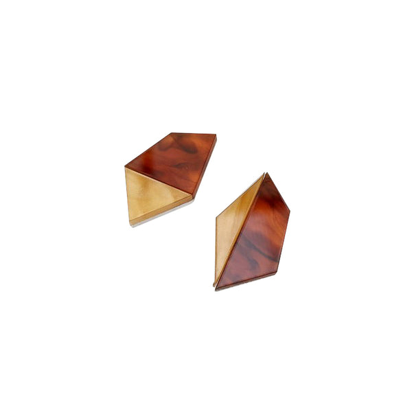 Asymmetric Geo Studs - Tortoiseshell - Earrings - Rosa Pietsch - Jewellery - Arlette Gold