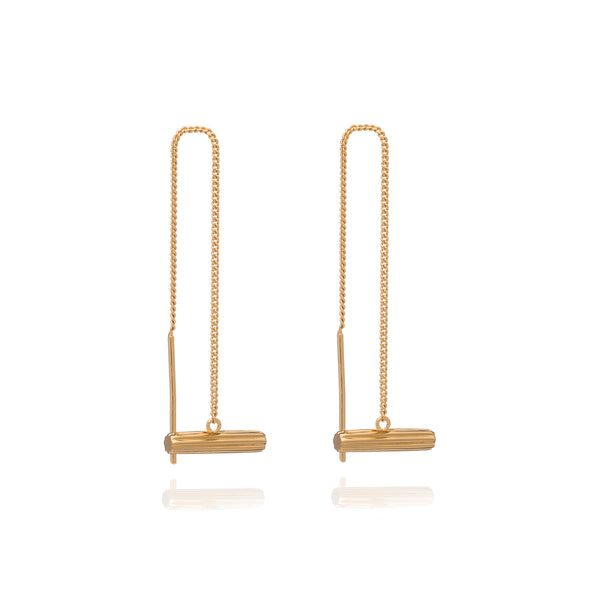 Mini T Bar Gold Threader Earrings