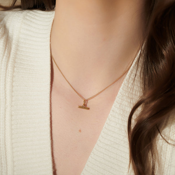 Gold Mini T-Bar Necklace