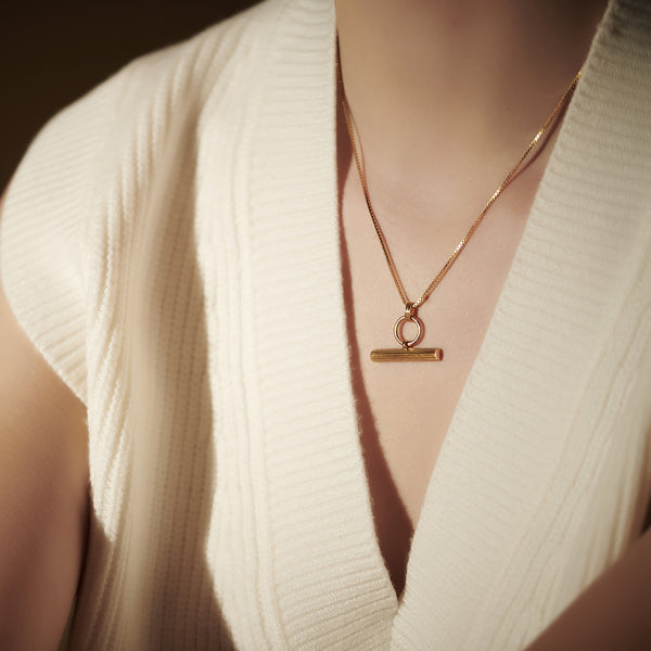 Gold Ridged T-Bar Necklace