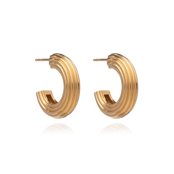 Chunky Ridged Gold Hoop Earrings