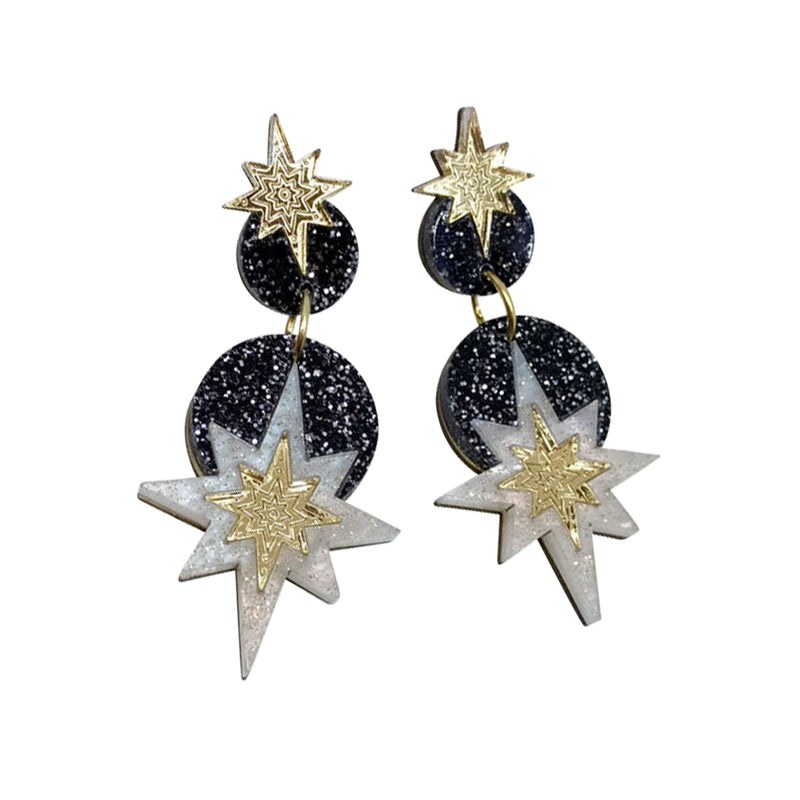 Star Deco Drop Earrings - Black Glitter - Earrings - Rosa Pietsch - Jewellery - Arlette Gold