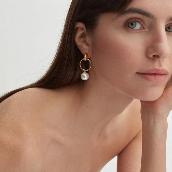 Layla Pearl Hoop Solid Ball Earrings
