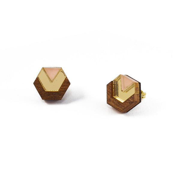 Little Hex Studs - Wood & Peach