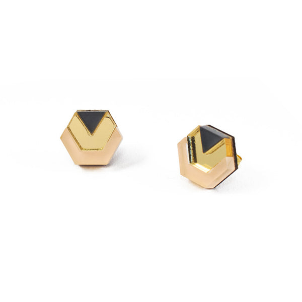 Little Hex Studs - Navy & Peach