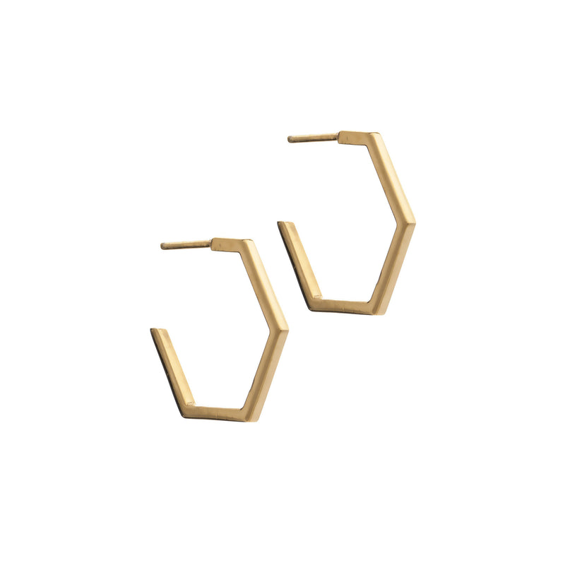Gold Medium Hexagon Hoop Earrings - Earrings - Rachel Jackson - Jewellery - Arlette Gold