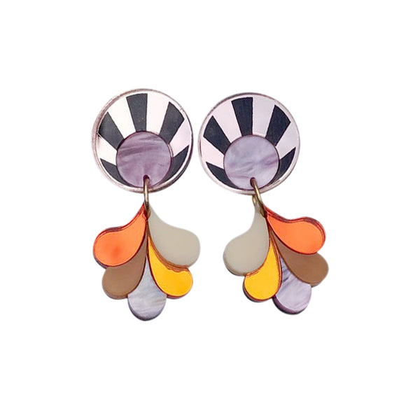 Sunset Statement Earrings - Pink Sky