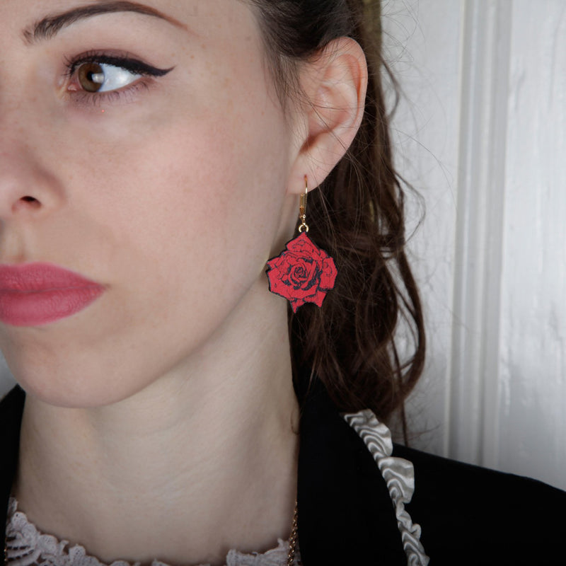 Scarlet Small Roses Earrings