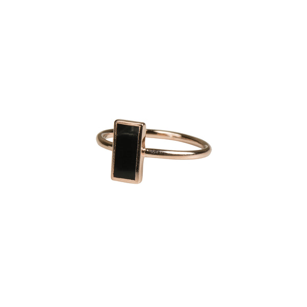 Rose Gold Geometric Rectangle Ring - Black - Ring - Serendipity - Jewellery - Arlette Gold
